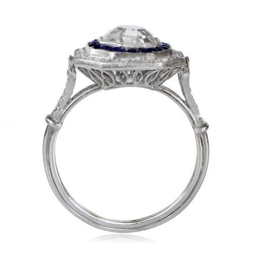 Sapphire and Diamond Halo Asscher Cut Ring