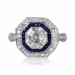 Diamond Sapphire Asscher Ring