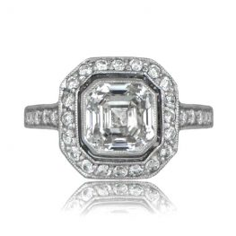 Asscher Diamond Platinum Engagement Ring