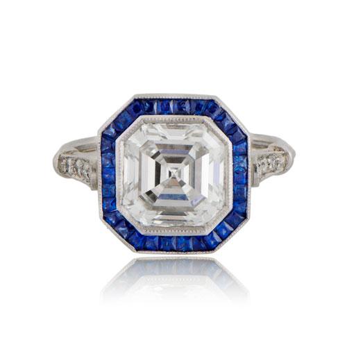 Asscher Cut Diamond Ring with Sapphire Halo