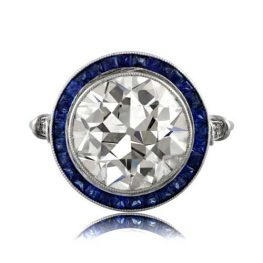 Old Mine Diamond with Sapphire Halo Engagement Ring 10756
