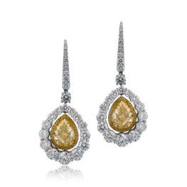 Yellow Diamond Halo Earrings