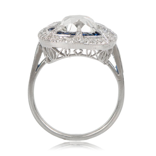 Diamond and Sapphire Ring Profile View