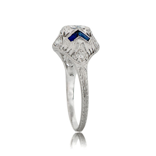Antique Engagement Ring with Sapphire Accents