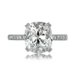 Cushion Cut Crown Engagement Ring