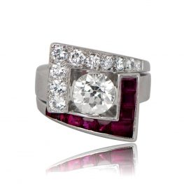 Antique Retro Engagement Ring Ruby and Diamond