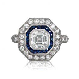 Asscher Cut Halo Engagement Ring