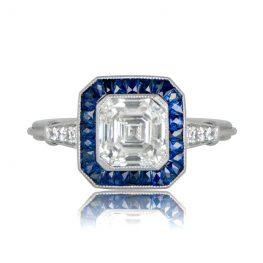 Asscher Diamond and Sapphire Ring