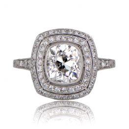 Double Halo Cushion Diamond Ring
