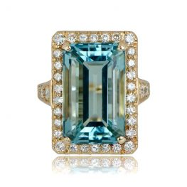 Estate Aquamarine Gold Engagement Ring