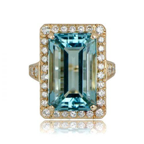 Estate Aquamarine Gold Engagement Ring