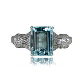 Aquamarine Vintage Engagement Ring